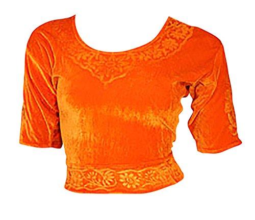 Arancione Choli (parte alta del Sari) di velluto taglia M ideale per danza del ventre