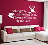 Wall Decal Decor Fishing Poles And Hunting Gear Dreams Of Bass And Big Ole Deer - Country Wall Decal Quote Wall Decals Nursery Bedroom Decor (White, 14''h x22''w)