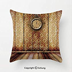 SoSung Victorian Decor Linen Throw Pillow Cushion,Antique Clock on Medieval Style Wall Wooden Floor Classic Architecture Theme Art,15.7x15.7Inches,for Sofa Bedroom Car & Home Decorate Beige Brown