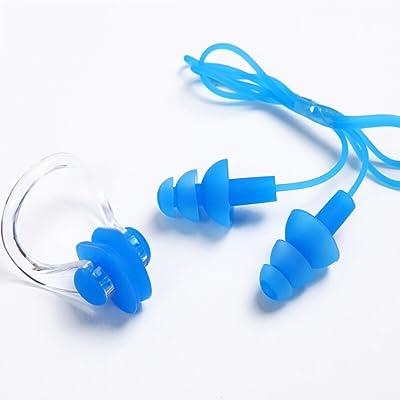 Swimming nose clip earbud set Bouchons d'oreilles clip de natation mis enfants silicone congestion nasale équipement étanche (Couleur : Bleu)