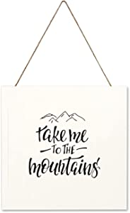 Free Brand Wood Sign - Take Me to The Mountains Rustic Farmhouse Wall Art Farmhouse Decorative Sign