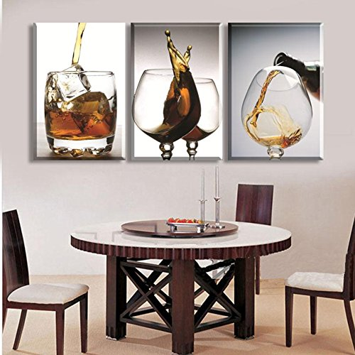 Karen Max Canvas HD Prints Poster Wall Art Framework 3 Pieces Ice Block And Wine Cup Paintings Modular Pictures For Living Room Home Decor