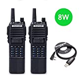 2pcs Baofeng UV-82 8W High Power 3800mAh Extended Li-ion Battery Two Way Radio Dual Band Radio 136-174mhz&400-520mhz Amateur (Ham) Portable Radio + USB Programming Cable