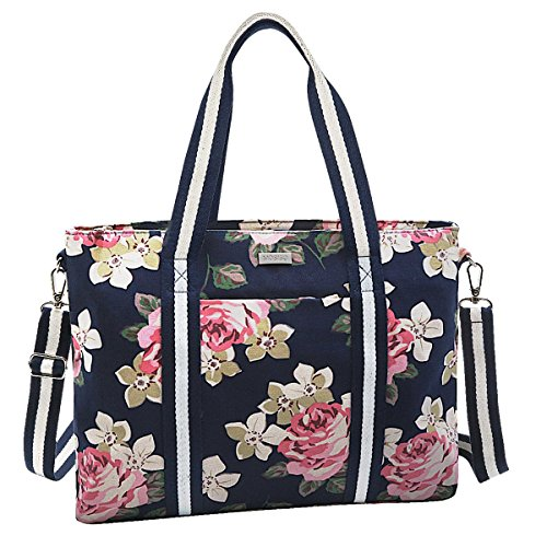 Laptop Bags Totes - Mosiso Laptop Tote Bag (Up to 15.6 Inch), Canvas Classic Rose Multifunctional Work Travel Shopping Duffel Carrying Shoulder Handbag for Notebook, MacBook, Ultrabook and Chromebook Computers, Dark Blue