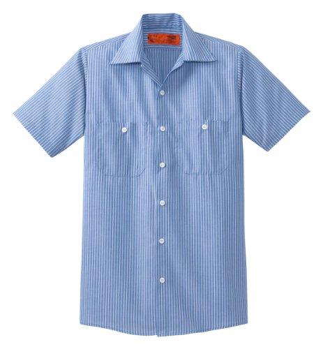 CornerStone - Short Sleeve Striped Industrial Work Shirt. CS20 - Blue/White_XL Reg Cotton Striped Work Shirt