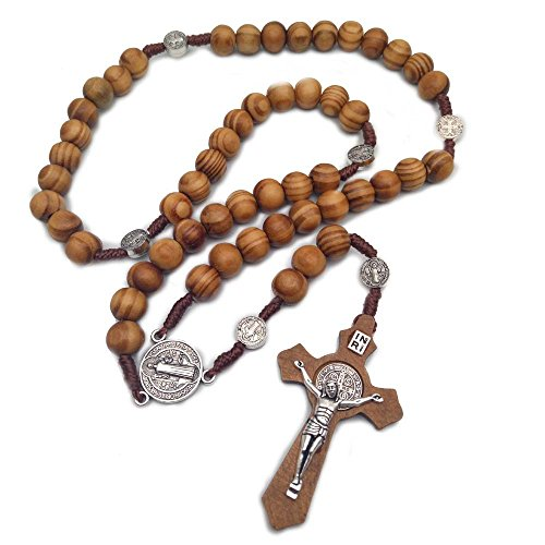 St Benedict Mens Catholic Rosary Necklace Handmade Wooden Cross Necklace Religious Jewelry