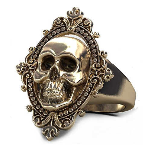 EVBEA Antique Copper Rings for Women Gothic Jewelry Big Statement Brass Skull Rings