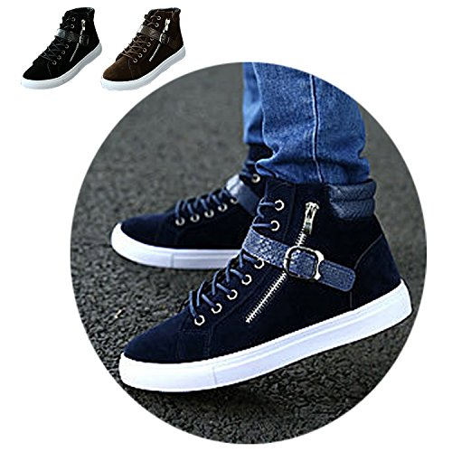 Gaorui Fashion Men High Top Flats Lace Up Board Shoes Casual Sneakers Trainers Boots Black K2L6f