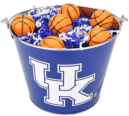 (University of Kentucky UK Wildcats NCAA Easter Basket Incl. Fillable Sports Eggs and Colored Grass Football Basketball Baseball Soccer Easter Gift Ideas (Basketball))