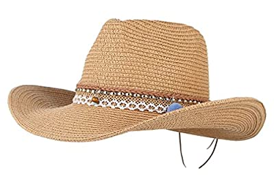 Gemvie Cowboy Cowgirl Floppy Sun Hat Fedora Straw Wide Brim Bucket Beach Cap