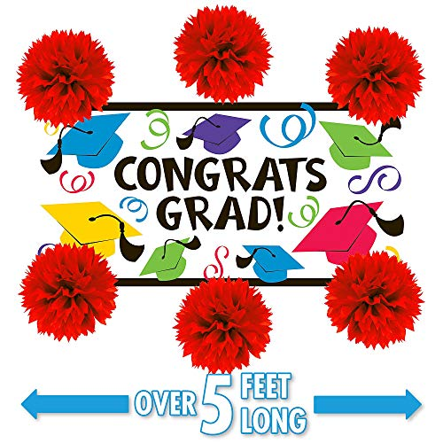 Party City Multicolor Graduation Wall Decorating Kit, Includes a Large Plastic Banner and 6 Tissue Paper Pom-Poms ()