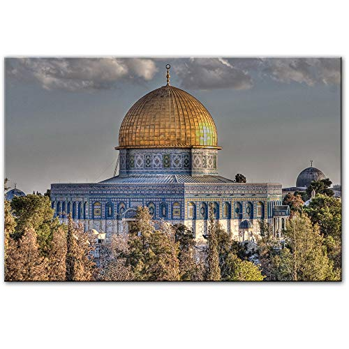 liwendi Mosque Al-Aqsa and Dome Rock Wall Art Poster Realism Mosque Canvas Art Print Muslim Picture Living Room Wall Decoration 50 75Cm