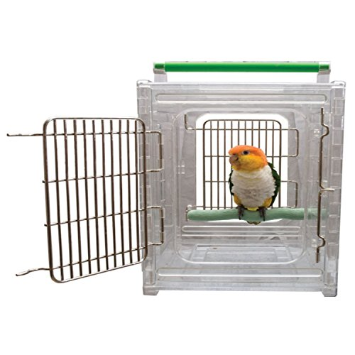 CaitecPerch & Go Polycarbonate Bird Carrier, Clear View Travel Cage (Green Transport Acrylic)