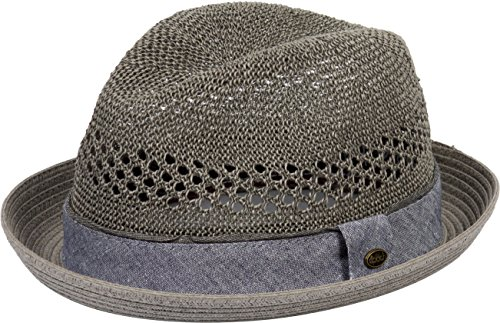 DRY77 Porkpie Pork Pie Fedora Hat Trilby Cuban Cap Paper Straw Up Short Brim, Grey, S/M