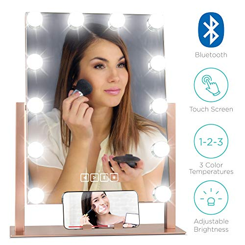Best Choice Products 13.5×18.75in Hollywood Makeup Vanity Mirror w Bluetooth Speakers, 12 LED Lights, Adjustable Color Temperature Brightness, Phone Stand, for Dressing Room, Bedroom – Rose Gold