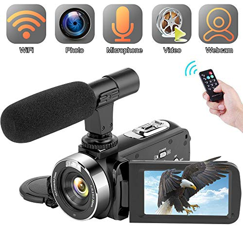 Camcorder 2.7K Video Camera,Vlogging Camera for YouTube WiFi Camcorder Ultra HD 24MP 30FPS 16X Digital Zoom 3.0 Inch Rotatable Touch Screen Support Pause Function & Time-Lapse (BLACK00)