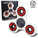 New Tri Fidget Spinner Toy High Speed Premium Quality Ceramic bearing - Relieves ADD ADHD Anxiety and Stress for Kids and Adults by Lollicolli - White Lollicolli