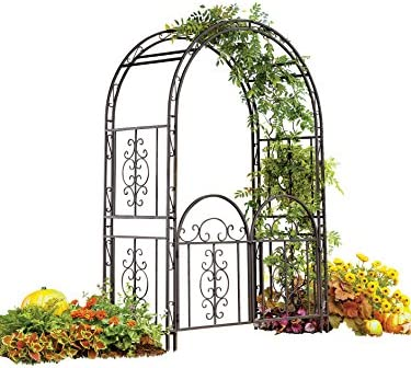 Plow Hearth Montebello Decorative Garden Arbor Trellis with Gate, Scroll Design, Tubular Iron Structure with 7-Inch Ground Stakes, 53 W x 23 D x 84 H Burnished Bronze Finish
