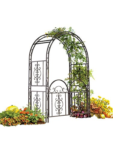 Plow & Hearth Montebello Decorative Garden Arbor Trellis with Gate, Scroll Design, Tubular Iron Structure with 7-Inch Ground Stakes, 53 W x 23 D x 84 H Burnished Bronze Finish