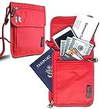 Neck Passport Wallet - Travel Document Organizer w/RFID Blocking - Travel Concealed Carry & Passport Holder (Neck Red)