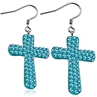 Stainless Steel Shamballa Cross Long Drop Hook Earrings w/ Sky Blue/ Aquamarine CZ (pair) - EEZ082