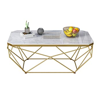 Lyxpuzi Table Nordique Table Basse En Marbre Salon Rectangulaire Mode Table En Fer Forge Couleur Or Taille 50 100 45cm
