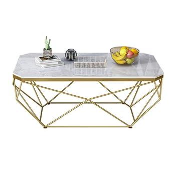 Table Basse En Fer Forge.Lyxpuzi Table Nordique Table Basse En Marbre Salon Rectangulaire Mode Table En Fer Forge Couleur Or Taille 50 100 45cm