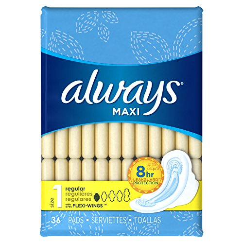 Price comparison product image Always Maxi Size 1 Pads with Wings, Regular Absorbency, Unscented, 36 Count (Packaging May Vary)