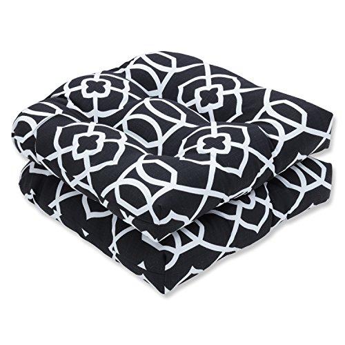 Pillow Perfect Outdoor Indoor Kirkland Black Wicker Seat Cushion Set 2 Piece