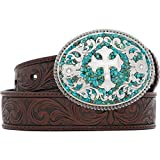 Nocona Girl's Stone Cross Buckle Belt, Brown, 20