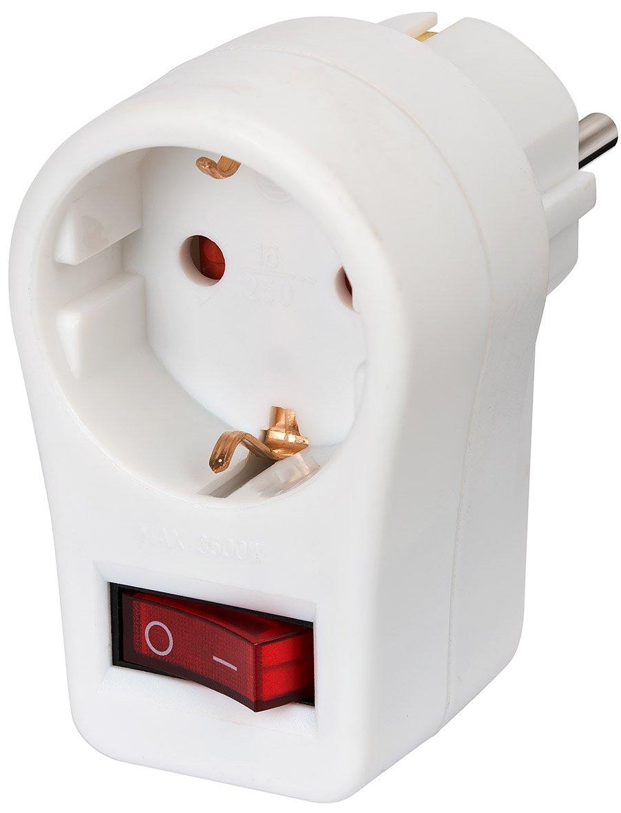 brennenstuhl steckdosenadapter schutzkontaktsteckdose mit schalter ebay. Black Bedroom Furniture Sets. Home Design Ideas