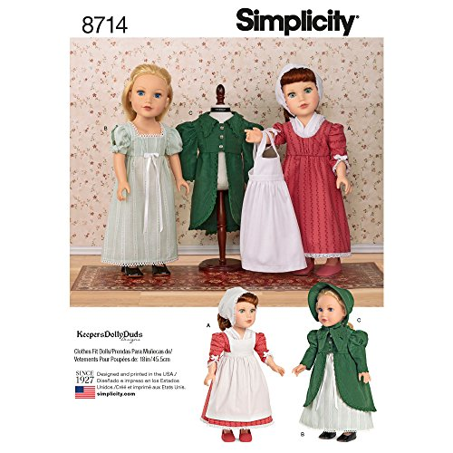 Doll Pattern Dress - Simplicity Sewing Pattern 8714 OS 18-Inch Doll Clothes, One Size, by Simplicity Creative Patterns