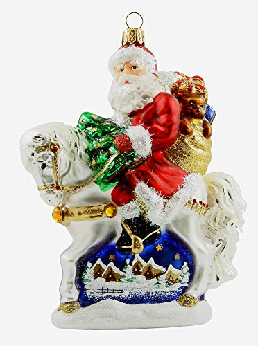 Santa Claus Riding Horse with Painted Winter Scene Polish Glass Christmas Ornament -