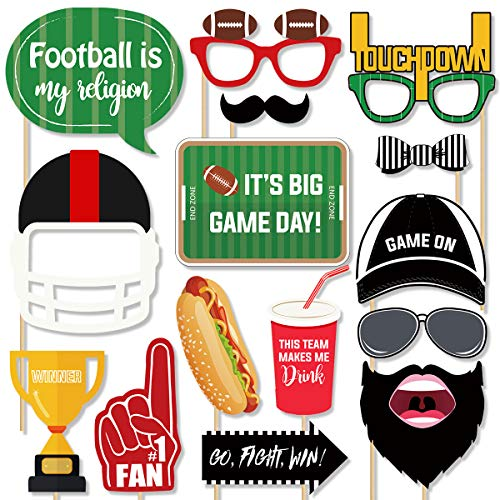 Football Photo Booth Props Kit - 26 Counts Football Season Game Day Decoration Supplies Gift, Fun Photography Posing Signs for Kids Boy Adult Super Bowl Sport Theme Birthday Halloween Party Favors