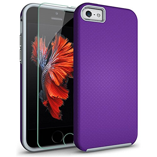 Price comparison product image iPhone 5S Case,  iPhone 5 Case,  iPhone SE Case,  COOLQO;reg TPU Bumper + Hard PC Hybrid Dual Layer Cushion + Tempered Glass Shockproof Defender Absorptive Cover & Skin for Apple iPhone 5 / 5S / SE _Purple