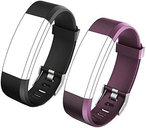 REDGO ID115Plus HR Replacement Band, Fitness Tracker Straps for ID115 Plus HR Bracelet, ID115HR Plus Pedometer, Not for ID115 or ID115HR, Black, Purple 1