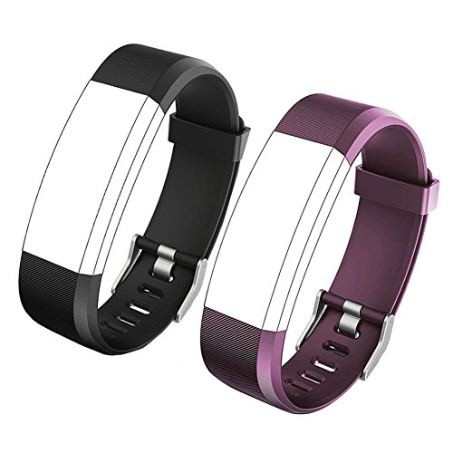 REDGO ID115Plus HR Replacement Band, Fitness Tracker Straps for ID115 Plus HR Bracelet, ID115HR Plus Pedometer, Not for ID115 or ID115HR, Black, Purple (Fit Hr)