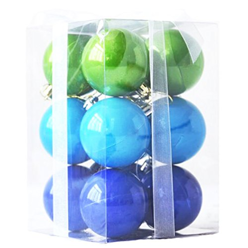 12ct Barrel Plating Multi Color Small Large Size Christmas Xmas Tree Balls Set Ornaments 12pcs With Ropes (80mm/ 3.14
