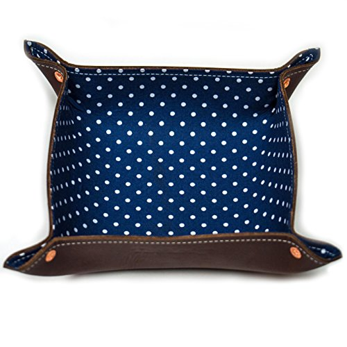 Brown Leather Men's Catchall Valet Tray with Navy Dots - Square Liberty Shops