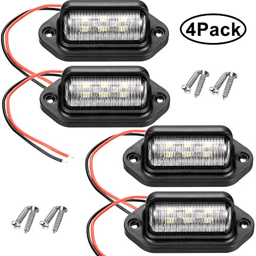 4 Packs 12V 6 LED License Plate Light Waterproof License Plate Lamp Taillight for Truck SUV Trailer Van RV Trucks and Boats License Tags