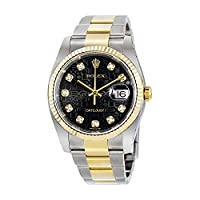 Rolex Oyster Perpetual Datejust 36 Black Jubilee Dial Stainless Steel and 18K Yellow Gold Rolex Oyster Automatic Mens Watch 116233BKJDO