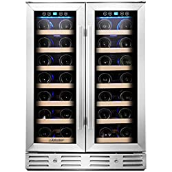 "Kalamera KRC-40DZB 24"" 40-bottle Wine Cooler Refrigerator with Dual Zone/Stainless Steel Door/Handle, Black"