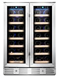Kalamera 24' 40-bottle Wine Cooler Refrigerator Built-in Dual Zone, Stainless Steel Door & Handle
