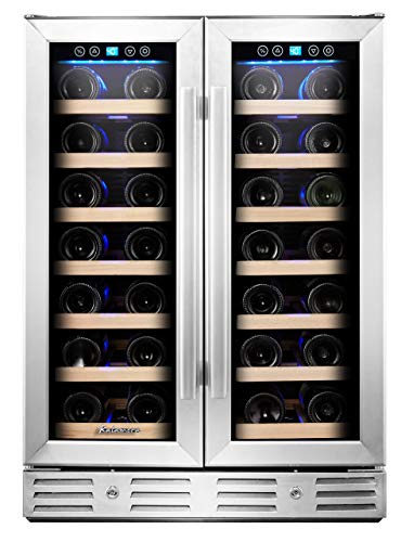 "Kalamera KRC-40DZB 24"" 40-bottle Wine Cooler Refrigerator with Dual Zone/Stainless Steel Door/Handle, Black"