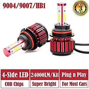 LED Headlight Bulbs 9004 / HB1 / 9007 Hi Lo Dual Beam - 4 Sides 240W High Power 24000LM Super Bright 6000K White Headlamp / Fog Light / DRL Replacement Kit - Package of 2