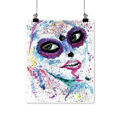 (for Home Decoration Halloween Lady with Sugar Skull Make Up Creepy Dead Face Gothic Woman for Home Decoration No Frame,28