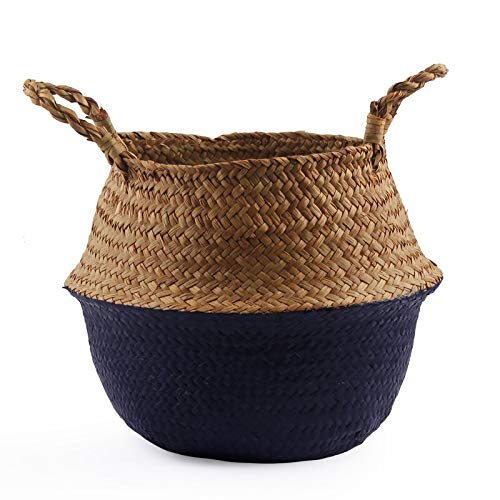 Best Quality - Storage Baskets - Handmade Folding Seagrass Rattan Belly Storage Basket Folding Wicker Flower Pot Hanging Laundry Hamper Storage Basket - by - 1 PCs (Hampers Wicker Wholesale)