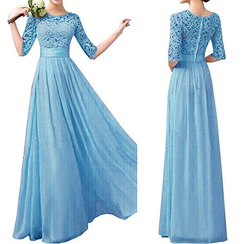 Eiffel Women's Lace Chiffon A-line Long Maxi Dress Evening Wedding Bridesmaid Gown (Medium, Blue)
