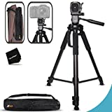 Durable Pro Grade 72 inch Full size Tripod with 3 way Pan-Head, Bubble level indicator, 3 Section Aluminum alloy lock in legs for Professional and Amature Camera and Video Photography plus Convenient Backpack style Carrying Case