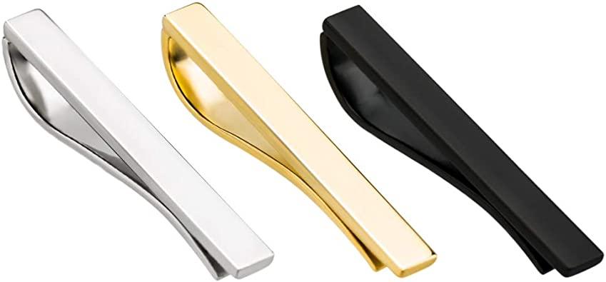 Sun Glasses Slim Tie Bar Shape Clip Skinny Trendy Fashion Wedding Formal Gold
